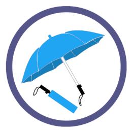 Голубые складные зонты
