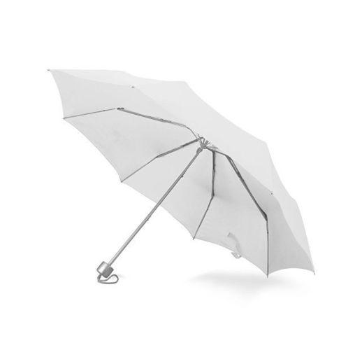Зонт складной Tempe, механический, 3 сложения, с чехлом, белый