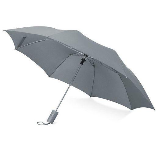 Зонт складной Tulsa, полуавтоматический, 2 сложения, с чехлом, серый