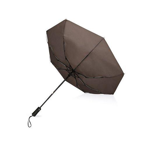 Зонт складной Ontario, автоматический, 3 сложения, с чехлом, коричневый