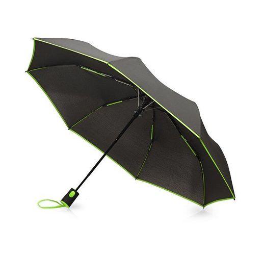 Зонт-полуавтомат складной Motley с цветными спицами, зеленый