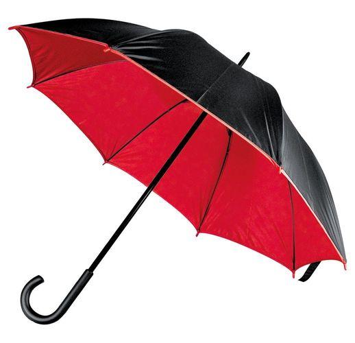 Зонт-трость Downtown, черный с красным