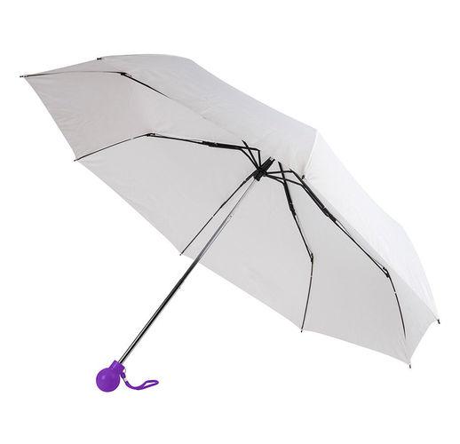 Зонт складной FANTASIA, механический, белый с фиолетовой ручкой