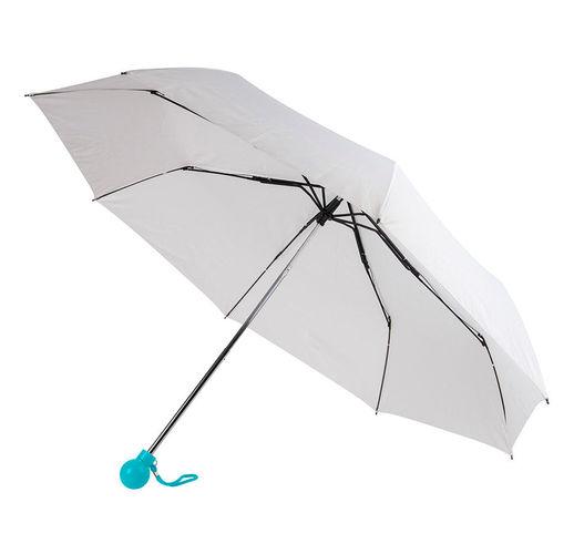 Зонт складной FANTASIA, механический, белый с голубой ручкой