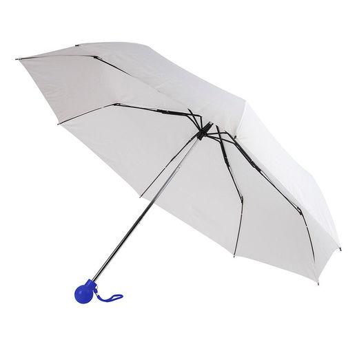 Зонт складной FANTASIA, механический, белый с синей ручкой