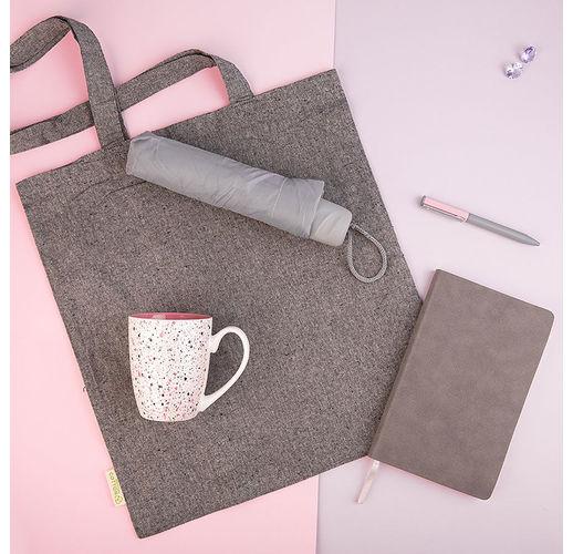 Набор подарочный DUSTYROSE: кружка, ручка, зонт, бизнес-блокнот, сумка, серый/розовый