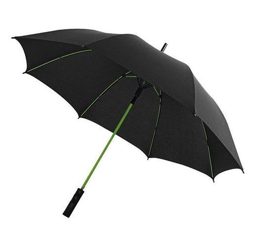 Зонт трость Spark полуавтомат 23, черный/лайм