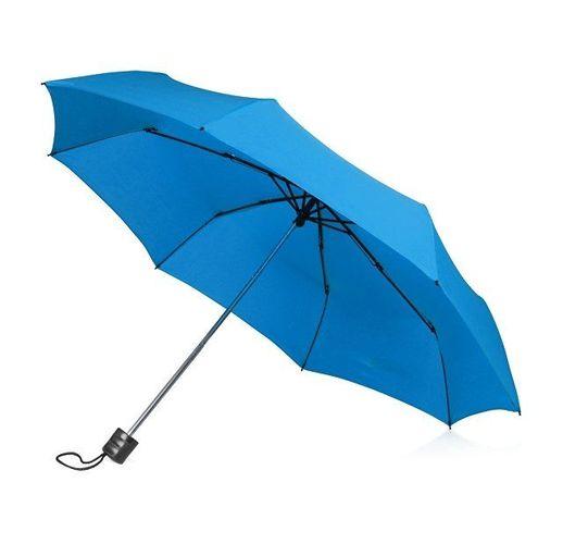Зонт складной Columbus, механический, 3 сложения, с чехлом, голубой