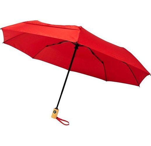 Автоматический складной зонт Bo из переработанного ПЭТ-пластика, красный