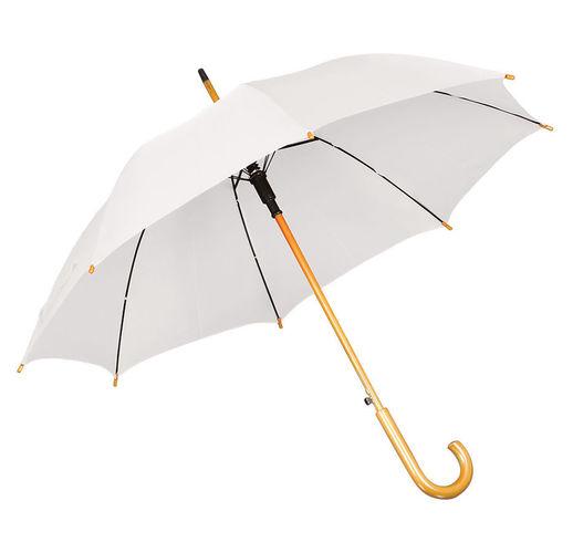 Зонт-трость с деревянной ручкой, полуавтомат; белый; D=103 см, L=90см; 100% полиэстер; шелкография