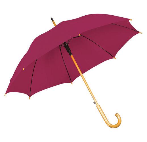 Зонт-трость с деревянной ручкой, полуавтомат; бордовый; D=103 см, L=90см; 100% полиэстер; шелкографи