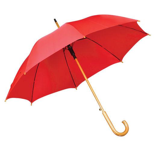 Зонт-трость с деревянной ручкой, полуавтомат; красный; D=103 см, L=90см; 100% полиэстер; шелкография