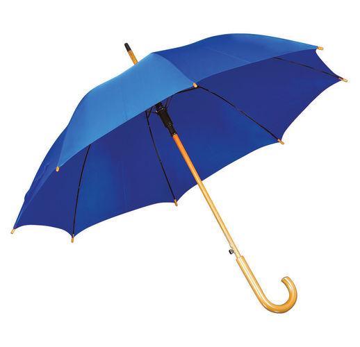 Зонт-трость с деревянной ручкой, полуавтомат; ярко-синий; D=103 см, L=90см; 100% полиэстер; шелкогра