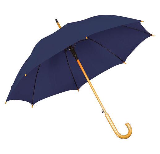 Зонт-трость с деревянной ручкой, полуавтомат; синий; D=103 см, L=90см; 100% полиэстер; шелкография