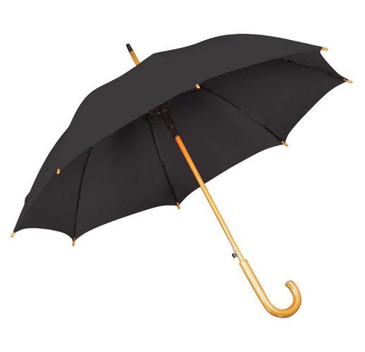 Зонт-трость с деревянной ручкой, полуавтомат; черный; D=103 см, L=90см; 100% полиэстер; шелкография