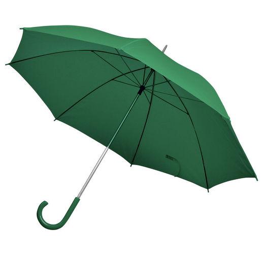 Зонт-трость с пластиковой ручкой, механический; зеленый; D=103 см; 100% полиэстер; шелкография