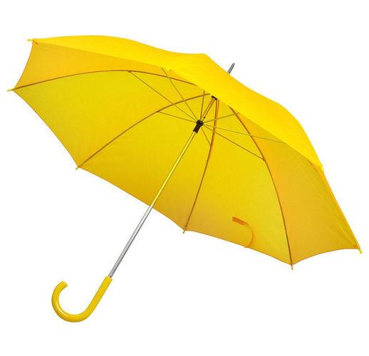 Зонт-трость с пластиковой ручкой, механический; желтый; D=103 см; 100% полиэстер; шелкография