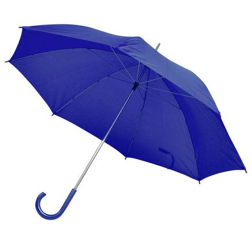Зонт-трость с пластиковой ручкой, механический; синий; D=103 см; 100% полиэстер; шелкография