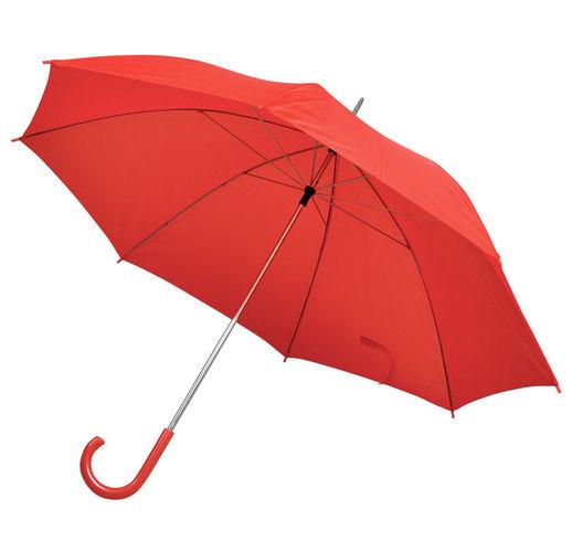 Зонт-трость с пластиковой ручкой, механический; красный; D=103 см; 100% полиэстер; шелкография