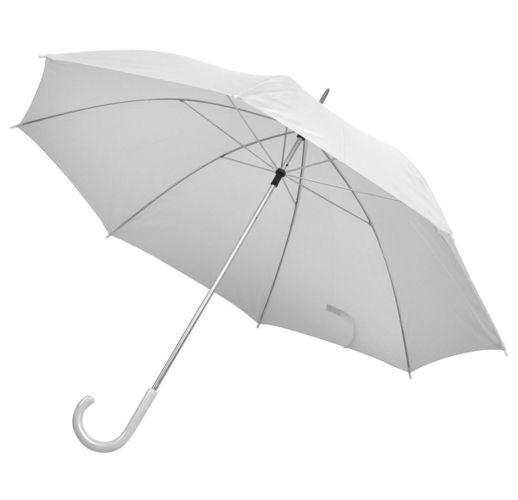 Зонт-трость с пластиковой ручкой, механический; белый; D=103 см; 100% полиэстер; шелкография