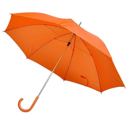 Зонт-трость с пластиковой ручкой, механический; оранжевый; D=103 см; 100% полиэстер; шелкография
