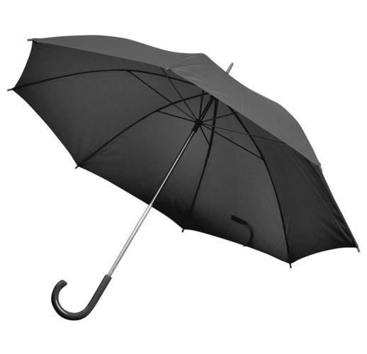 Зонт-трость с пластиковой ручкой, механический; черный; D=103 см; 100% полиэстер; шелкография