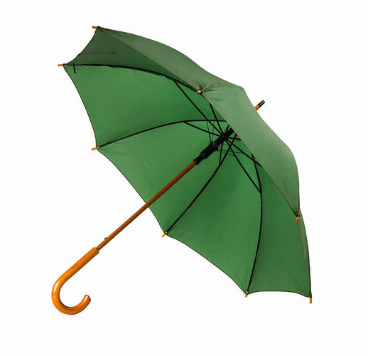 Зонт-трость механический Santy, деревянная ручка, нейлон, D=105, зелёный