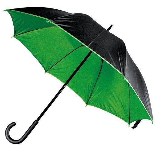 Зонт-трость Downtown, черный с зеленым