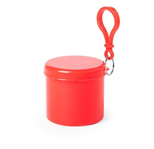 Дождевик BIRTOX белого цвета в красном футляре с карабином, 127 х 102 см. материал LDPE