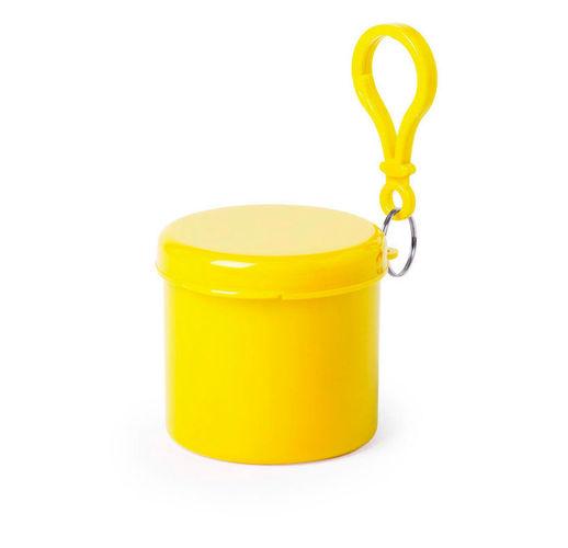 Дождевик BIRTOX белого цвета в жёлтом футляре с карабином, 127 х 102 см. материал LDPE
