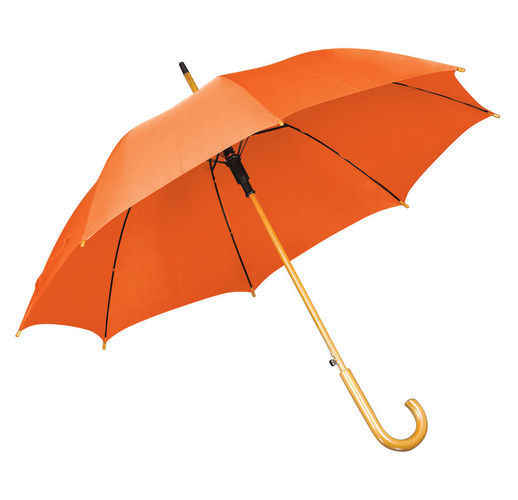 Зонт-трость с деревянной ручкой, полуавтомат; оранжевый; D=103 см, L=90см; нейлон; шелкография