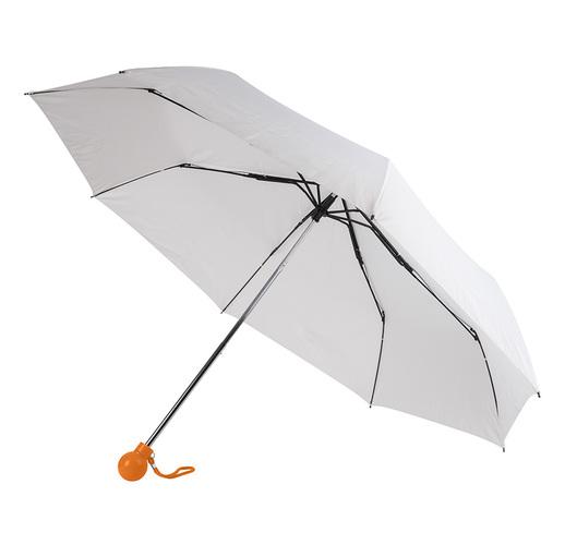 Зонт складной FANTASIA, механический, белый с оранжевой ручкой