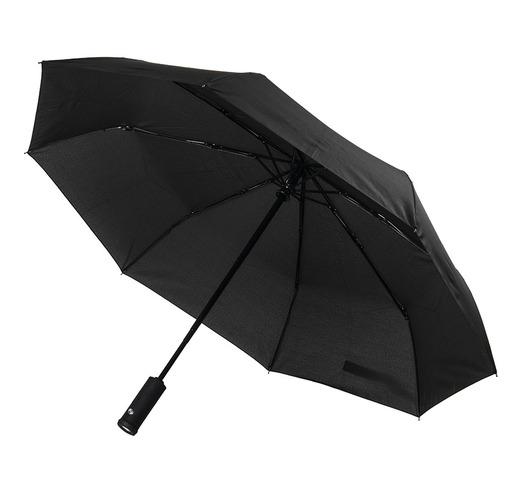 Зонт PRESTON складной с ручкой-фонариком, полуавтомат, нейлон
