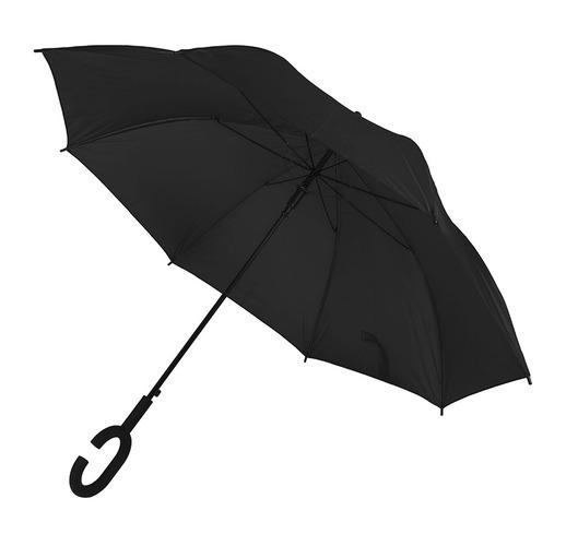 Зонт-трость HALRUM,  полуавтомат, черный, D=105 см, нейлон, пластик