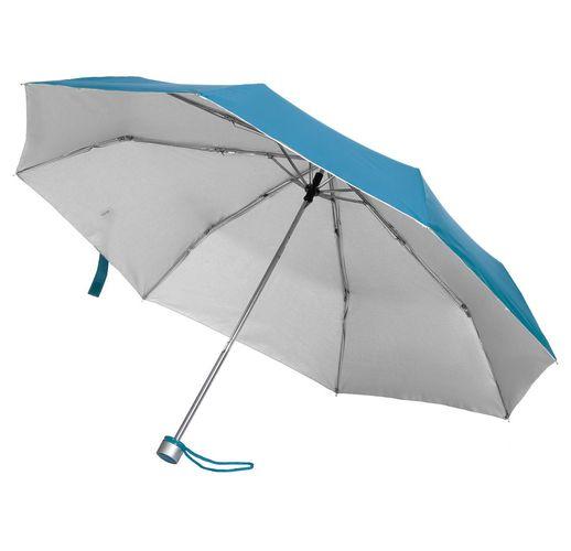 Зонт складной Silverlake, голубой с серебристым