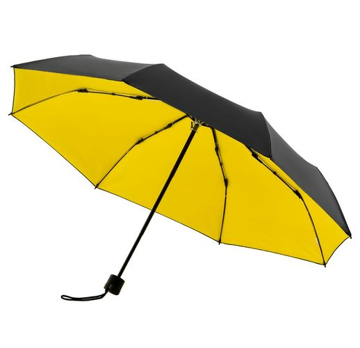 Зонт складной с защитой от УФ-лучей Sunbrella, желтый с черным