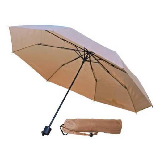 Зонт механический складной в чехле, с пластиковой ручкой. Бежевый 7521С