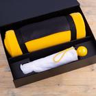 Набор подарочный RAINY DAY: зонт складной, механический, плед, коробка, желтый