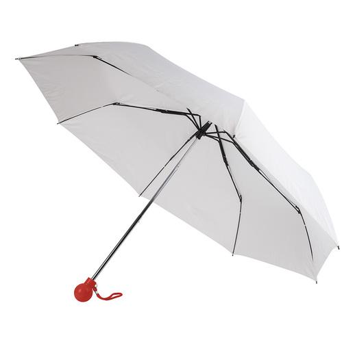 Зонт складной FANTASIA, механический, белый с красной ручкой