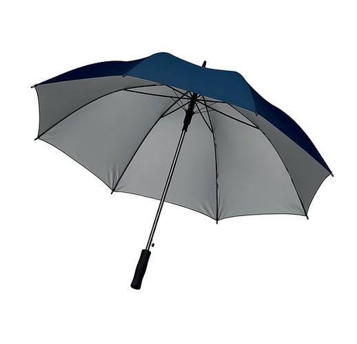27-дюймовый зонт с автоматическим открытием из полиэфирного материала 190T, серебристого цвета внутри. С черными металлическими спицами, черными пластиковыми наконечниками, прямой черной ручкой EVA. Ручное закрытие. (синий)