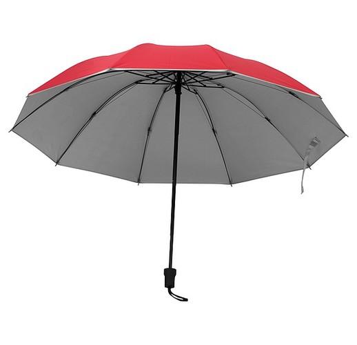 Зонт с серебристой поверхностью внутри. (красный)