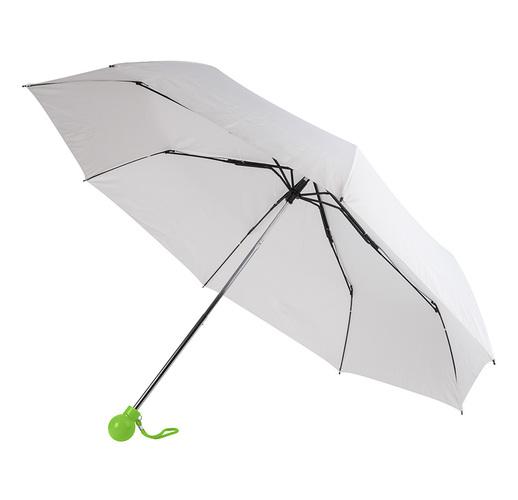 Зонт складной FANTASIA, механический, белый со светло-зеленой ручкой