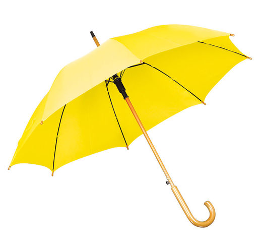 Зонт-трость с деревянной ручкой, полуавтомат; желтый; D=103 см, L=90см; нейлон; шелкография