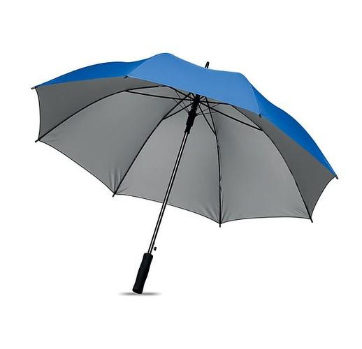 27-дюймовый зонт с автоматическим открытием из полиэфирного материала 190T, серебристого цвета внутри. С черными металлическими спицами, черными пластиковыми наконечниками, прямой черной ручкой EVA. Ручное закрытие. (королевский синий)