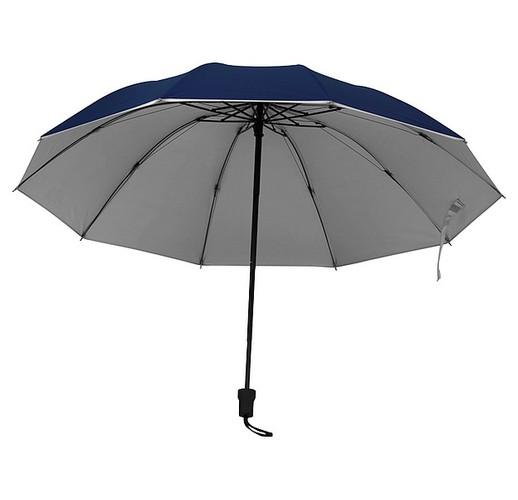 Зонт с серебристой поверхностью внутри. (темно-синий)