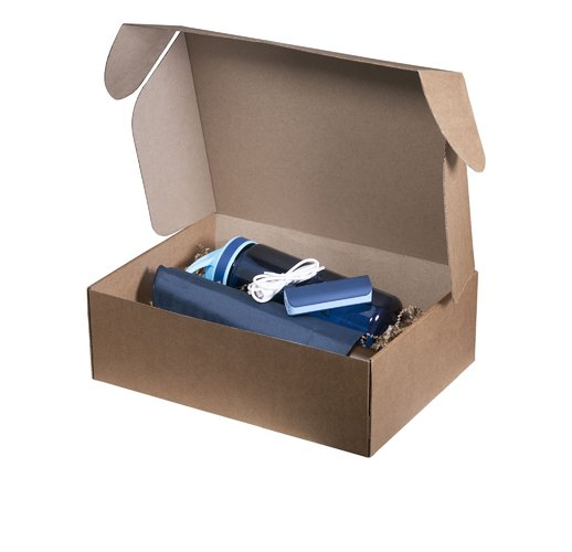 Подарочный набор Portobello синий в большой универсальной подарочной коробке (Зонт, Спортбутылка, Power bank)